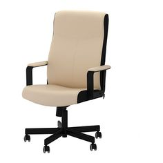 IKEA - MALKOLM, Swivel chair, Bomstad beige,  , , You sit comfortably since the chair is adjustable in height.Adjustable tilt tension allows you to adjust the resistance to suit your movements and weight.Your back gets support and extra relief from the built-in lumbar support.The casters are rubber coated to run smoothly on any type of floor.