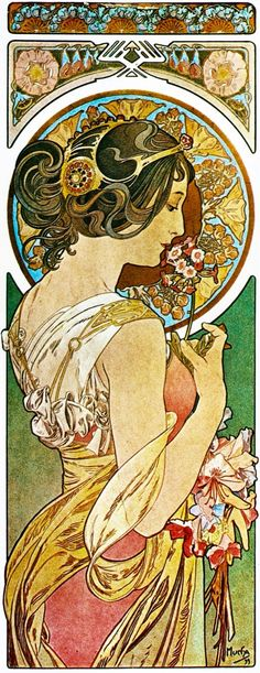 """ La Primevère"" by Alfons Maria Mucha (1860-1939) was a Czech Art Nouveau painter and decorative artist known best for his distinct style.……reépinglé par Maurie Daboux….ღ. ¸.•*¨"