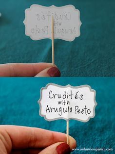 DIY food labels - toothpick and sticky label