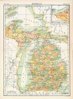 1890s Antique Map of Michigan