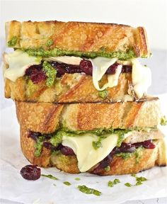 Turkey Pesto and Cranberry Melt. Turkey Pesto and Cranberry Melt.what a way to use leftovers holy moly! Think Food, I Love Food, Food For Thought, Good Food, Yummy Food, Great Recipes, Favorite Recipes, Healthy Fall Recipes, Yummy Recipes