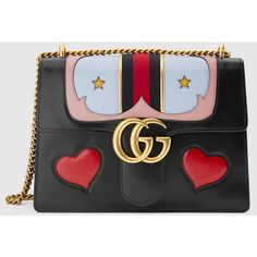 Gucci Gg Marmont Leather Shoulder Bag (1.076.085 HUF) found on Polyvore featuring women's fashion, bags, handbags, shoulder bags, gucci, black, western handbags, western purses, leather purses and leather handbags