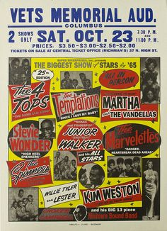 """""""The Biggest Show Of Stars - Vets Memorial Auditorium, Columbus"""" Art Print Taken From A Vintage Concert Poster · Andromeda Print Emporium · Online Store Powered by Storenvy Vintage Concert Posters, Vintage Posters, Jazz, Tamla Motown, It's All Happening, Blues, Big Show, Northern Soul, Rock Posters"""