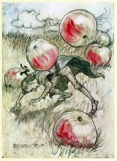 Apples came tumbling about my ears - Gulliver's Travels Into Several Remote Nations of the World by Jonathan Swift, Illustration by Arthur Rackham. Arthur Rackham, Art And Illustration, Charles Perrault, Gulliver's Travels, Classic Fairy Tales, Fairytale Art, Wow Art, Fantasy Art, Jonathan Swift