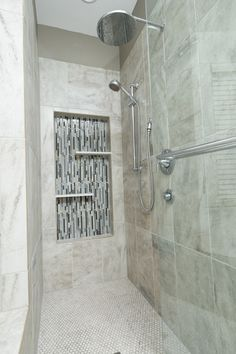 New shower with vertical glass in Shampoo niche. #shower