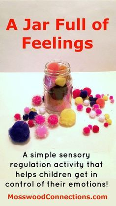 A Jar Full of Feelings Sensory Regulation Activity that helps children get in control of their emotions. A Jar Full of Feelings is a visual sensory regulation activity to help children recognize and respond appropriately to their feelings. Play Therapy Activities, Feelings Activities, Counseling Activities, Sensory Activities, Emotions Preschool, Teaching Emotions, Calming Activities, Therapy Games, Activities For Kids