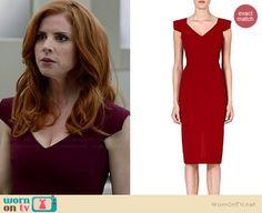Donna's burgundy v-neck cap sleeve dress on Suits.  Outfit Details: http://wornontv.net/35026/ #Suits
