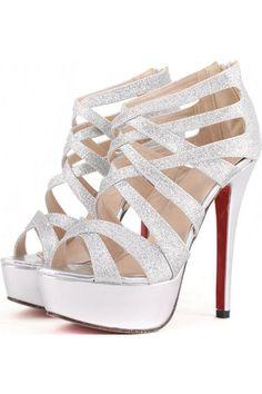 $30.99 Silver Faux Leather Glitter Strappy Gladiator Platform Heels @ MayKool.com