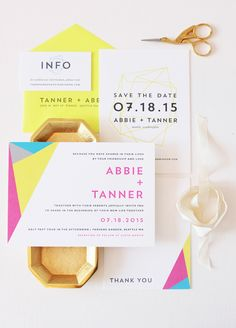 Modern Neon Geometric Wedding Invitations by Dahlia Press / Oh So Beautiful Paper