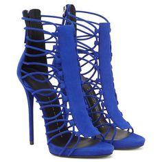Shoespie Blue Elastic Strappy Dress Sandals
