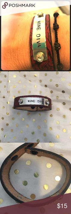 """WINE DIVA"" cuff ""WINE DIVA"" cuff, made out of real leather, snap closure, BRAND NEW NEVER WORN, burgundy color Jewelry Bracelets"
