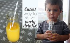 DIY Glass Milk Bottles and paper straws are the cutest way to serve party drinks for kids and adults!