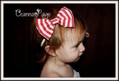 red and white distressed stripe baby christmas bow by CeannaPaige