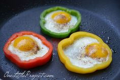 Eggs in bell pepper rings are a genius idea! Plus they are an easy and healthy breakfast option! Try this the next time you have company over for breakfast!