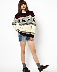 Image 4 ofPop Boutique Reindeer Knitted Christmas Jumper