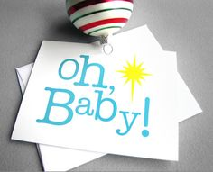 The perfect Christmas cards!Christmas cards  Oh Baby  Set of 5 blue yellow by RedLetterPaperCo, $16.00