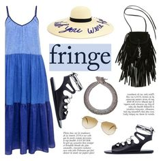 """""""Festival Trend: Fringe!"""" by ifchic ❤ liked on Polyvore featuring M.i.h Jeans, Eugenia Kim, Ancient Greek Sandals, Yves Saint Laurent, Venessa Arizaga, Anja, Oliver Peoples, fringe, contestentry and ifchic"""