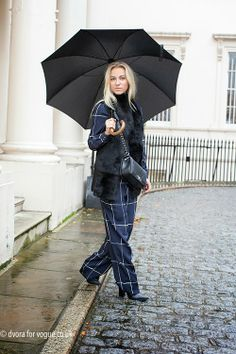 Fashionistable and Sandra Hagelstam in the rain in London.