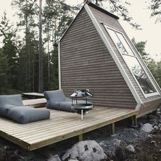 ROBIN FALCK | Designer — Nido   Sweet little cabin getaway with sitting area, micro kitchen, bedroom & deck with no permit needed due to it's diminutive size - yet beautiful, functional with lovely views.