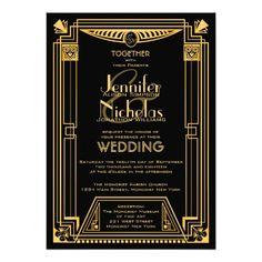 Great Gatsby 1920s Art Deco Inspired Wedding Card
