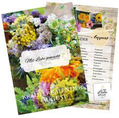 Kräutersammelkalender August für euch zum Download | ♥ Mit Liebe gemacht Gratis Download, Natural Life, Fruit And Veg, Plants, Love, Garten