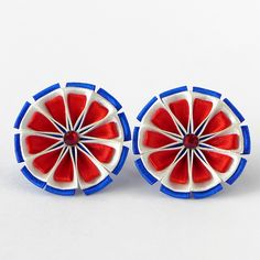 Kanzashi fabric flower pigtail holders. Set of 2. Blue, white, red