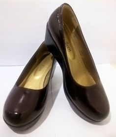 Brown Leather Wedges High Heels Size 36 Women Fashion Pumps Classics Shoes #KatiaBeen #PlatformsWedges