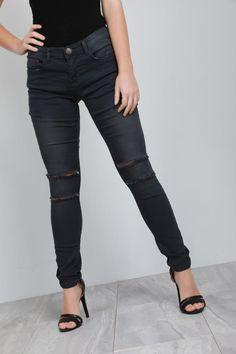 efe5097d4c697 Viana Charcoal Ripped Knee Denim Skinny Jeans