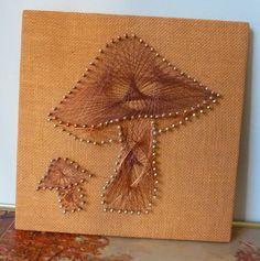 Champignons kitsch String Art Vintage des années 70 à la main