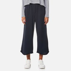 T by Alexander Wang Women's Pull On Wide Leg Cropped Pants Navy