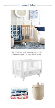 Nursery inspiration that goes beyond blue | Hudson Crib, Mini Elephant Quilt & La Jolla Basket via #serenaandlily pulls together the look.