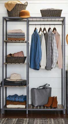 Bedroom Closet Design, Closet Designs, Bedroom Decor, Metal Furniture, Diy Furniture, Furniture Design, Stand Alone Closet, Hanging Clothes, Clothes Racks