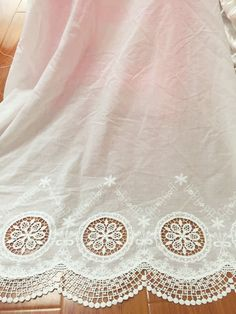vintage style cotton lace fabric floral embroidery by Retrolace