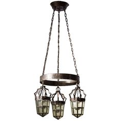 Swedish Jugend Ceiling Lamp in Wrought Iron with Glass and Lead Lamp Covers | From a unique collection of antique and modern lanterns at http://www.1stdibs.com/furniture/lighting/lanterns/