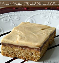 Amazing Peanut Butter Frosted Oatmeal Bars with 3 layers of goodness. Peanut Butter Oatmeal Bars, Oatmeal Cake, Best Peanut Butter, Peanut Butter Frosting, Peanut Butter Desserts, Cookie Desserts, Just Desserts, Delicious Desserts, Dessert Recipes
