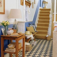 Interior, Vintage Downstair Scandinavian Hallway Design With White And Blue Interior Color Inspiration Plus Wooden Table With Bench Seat And Pillow Under Clothing Hooks With Dado Rail Ideas: 35 Interesting Hallway Decor Ideas to Try