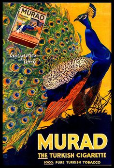 Murad Turkish Cigarettes Vintage Ad - Peacock via Etsy Pub Vintage, Vintage Labels, Vintage Signs, Vintage Posters, French Posters, Vintage Prints, Retro Advertising, Vintage Advertisements, Advertising Design
