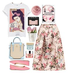 """""""Untitled #5014"""" by prettyorchid22 ❤ liked on Polyvore featuring Ted Baker, MANU Atelier, Clinique, Sam Edelman, Benefit, Amy Winehouse, Nook and NARS Cosmetics"""