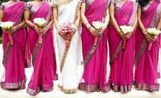 Fucshia bridesmaid saris and white bridal sari for an Indian wedding or fusion wedding bridal party Indian Wedding Theme, Desi Wedding, Indian Bridal, Wedding Attire, Indian Weddings, Wedding Outfits, Indian Theme, Party Outfits, Indian Style
