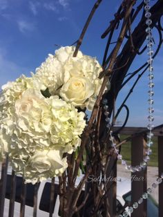 Hydrangea wedding arch design  with jewels by A Splendid Affair Wedding and Event Design  at Von Jakob Winery, Alto Pass Illinois