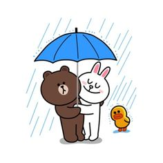 Yes it's finally happened! Brown & Cony are secretly dating! These stickers are a must have for every lovey-dovey couple! - includes a lot of hugs & kisses. Cony Brown, Brown Bear, Line Cony, Bear Gif, Kakao Friends, Cute Love Gif, Bunny And Bear, Brown Line, Bear Wallpaper