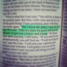 One of my favorite scriptures! To give you a FUTURE and a HOPE!