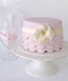 Pink ruffled weddingcake by Cakes by Tessa, via Flickr