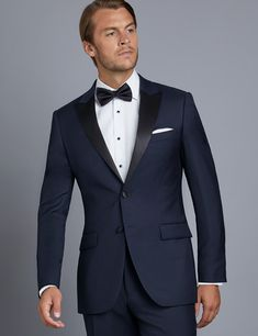 Men's Navy Slim Fit Dinner Jacket on sale in Hawes & Curtis Blue Suit Men, Navy Blue Suit, Dinner Suit, Dinner Jacket, Mens Tux, Mens Suits, Blue Tuxedo Wedding, Tuxedo Styles, Navy Tuxedos