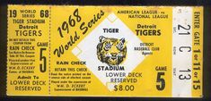 Lot Detail - 1968 World Series Ticket Stub with Rain Check- Game at Detroit