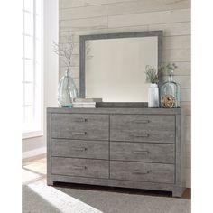 Signature Design by Ashley Culverbach Grey Dresser with Mirror (Dresser with Mirror), Size 6-drawer