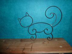 Chat assis en fer forgé bleu marine pour décoration de jardin ou ...