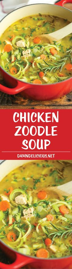 Chicken Zoodle Soup - Just like mom's cozy chicken noodle soup but made with zucchini noodles instead! So comforting AND healthy! 227.3 calories.