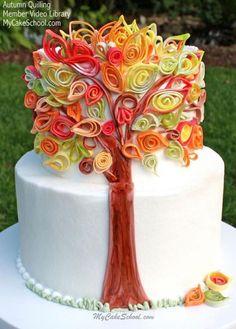 torta matrimonio autunnale con albero in quilling. autumn wedding cake #wedding