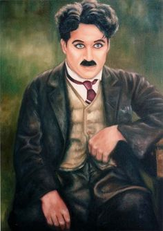 """Chaplin is """"For The Ages"""" Charly Chaplin, Silent Screen Stars, Charles Spencer Chaplin, Oil Portrait, Pop Art, Silent Film, Lady And Gentlemen, Funny People, Comedians"""